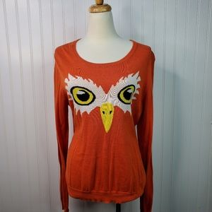 Rue 21 Orange Eagle Face Long Sleeve Sweater